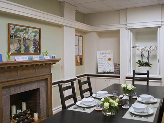 Meals are thoughtfully prepared by a chef and clients dine together in a comfortable setting