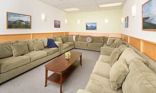 Our therapy rooms are homelike, warm and inviting